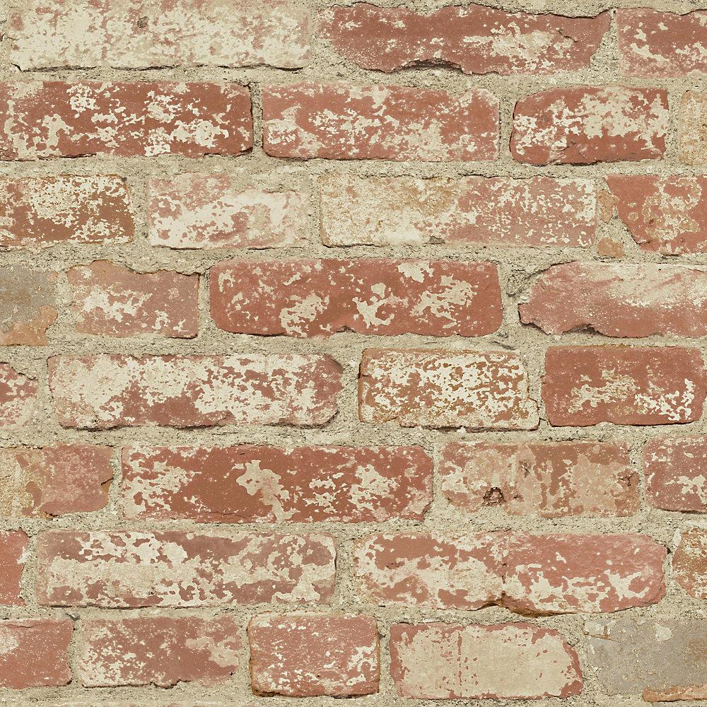 RoomMates Stuccoed Red Brick Peel and Stick Wallpaper ...