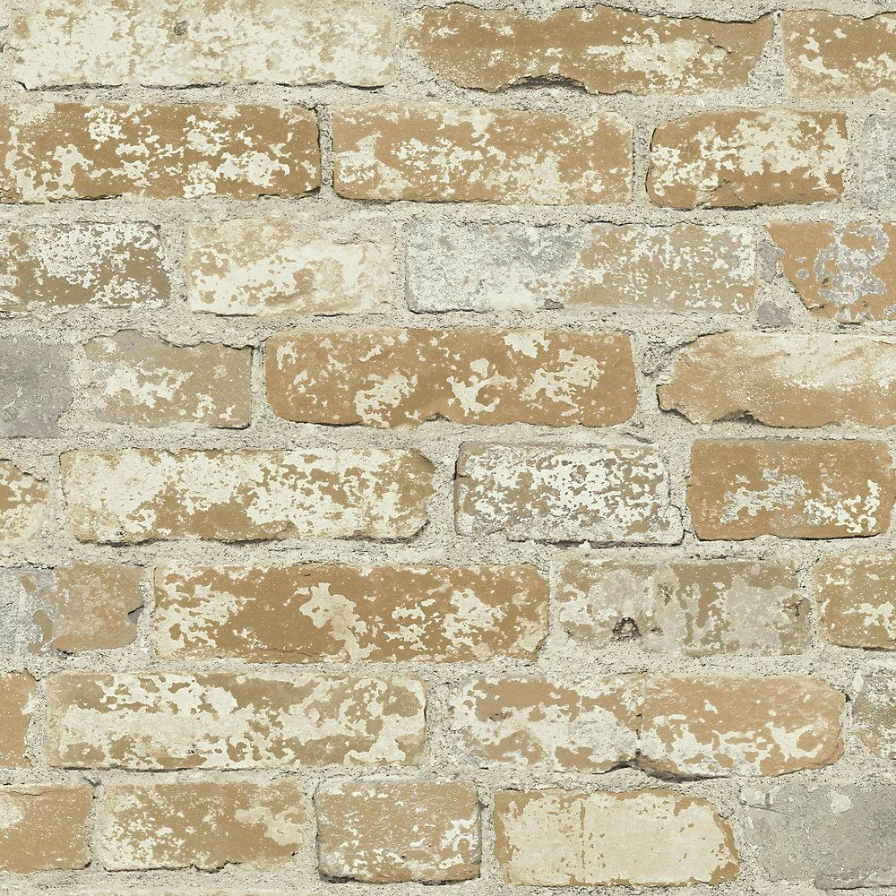 RoomMates papier peint adhésif briques marron | Home Depot Canada