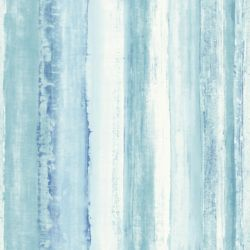 RoomMates papier peint adhésif rayure aquarellée bleu