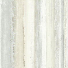 Tan Watercolor Stripe Peel & Stick Wallpaper