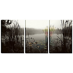 Art Maison Canada 18X12 Landscape Photography Bushes in the Lake Canvas Wall Art, Ready to Hang, (Set of 3)