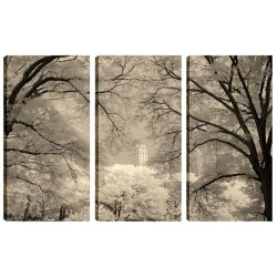 Art Maison Canada 24X12 Landscape Photography Building in Trees Canvas Wall Art Ready to Hang, (Set of 3)