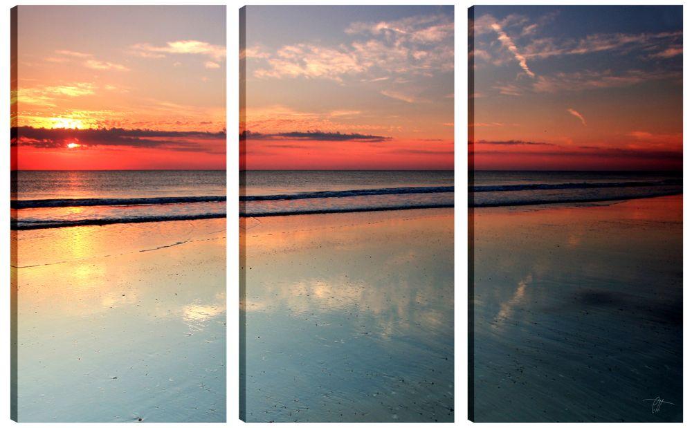 Art Maison Canada 24X12 Photography Sunset on the Lake Canvas Wall Art, Set of 3