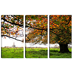 Art Maison Canada 24X12 Landscape Photography Garden Tree Canvas Wall Art Ready to Hang, (Set of 3)