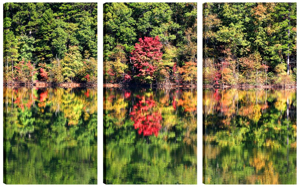 Art Maison Canada 24X12 Landscape Photography Lake Reflection Canvas Wall Art Ready to Hang, Set of 3