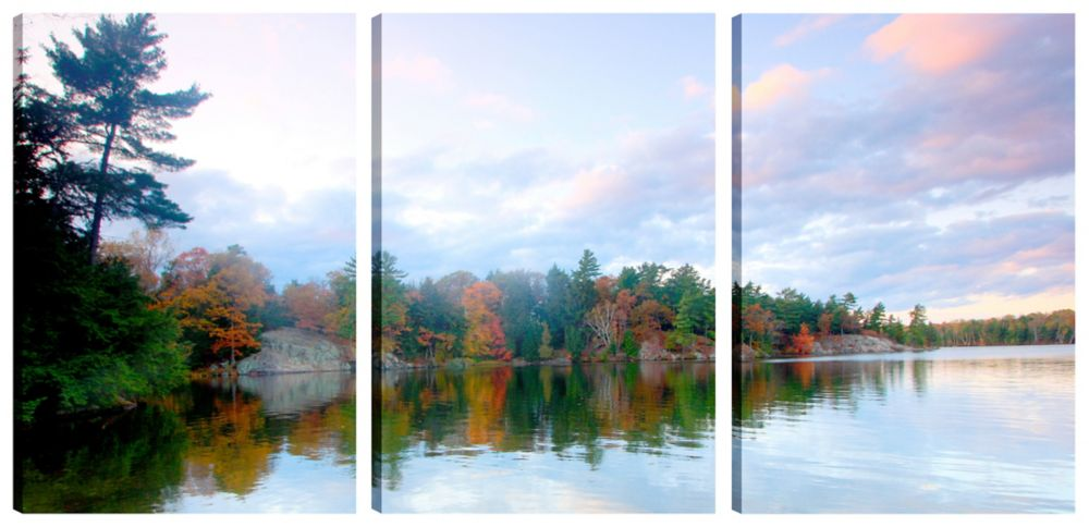 Art Maison Canada 18X12 Landscape Photography Clear Sky Relfections II Canvas Wall Art Ready to Hang, Set of 3