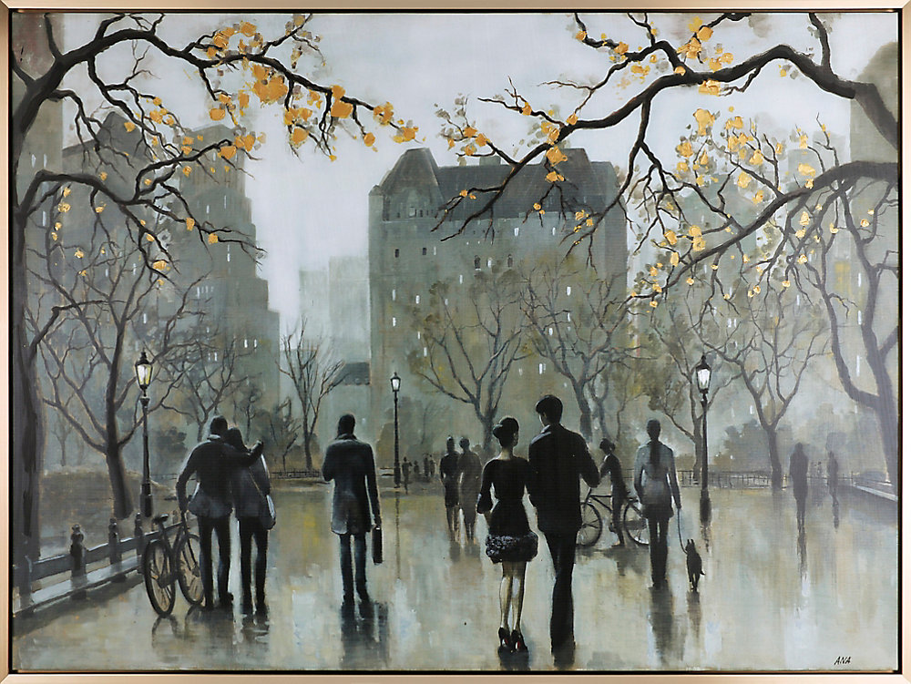 Walk on the Boulevard I, Cityscape Art, Acrylic on Canvas Art