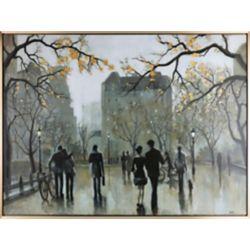 Art Maison Canada Walk on the Boulevard I, Cityscape Art, Acrylic on Canvas Art