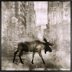 Art Maison Canada Walking Moose, Floral Art, Acrylic on Canvas Art