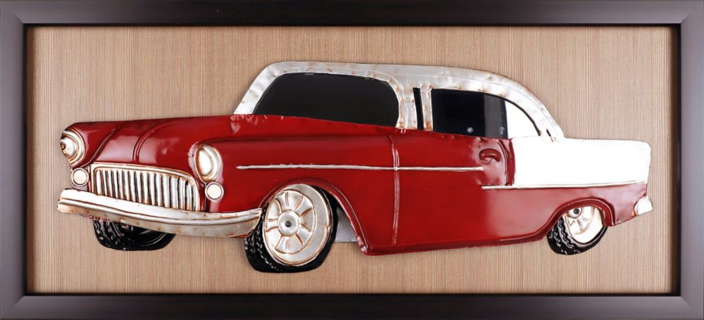 Art Maison Canada Classic Red Car, Framed Metal on Paper Wall Art