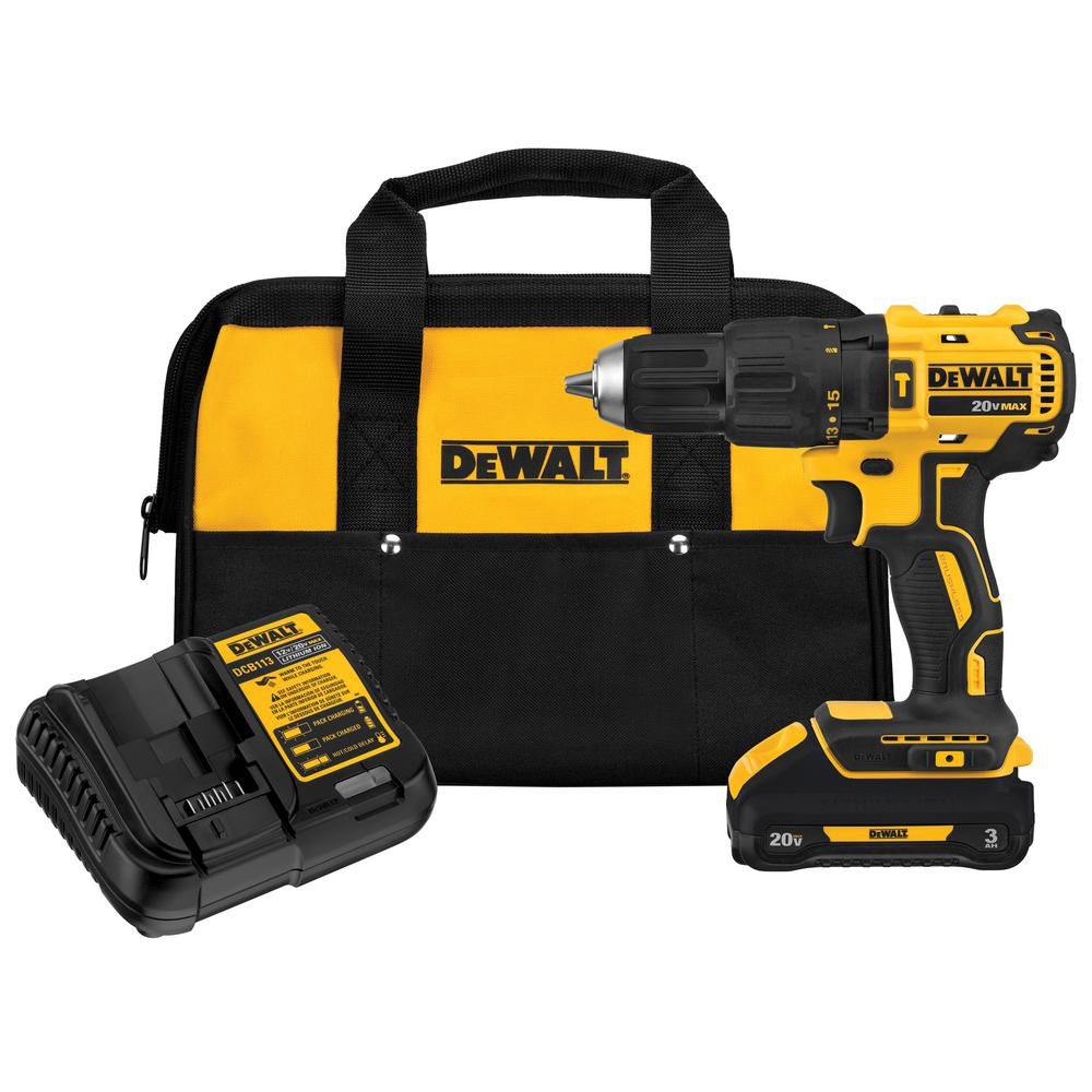 DEWALT 20V MAX Lithium-Ion Cordless Brushless 1/2-inch Compact Hammer Drill with Battery, Charger and Bag