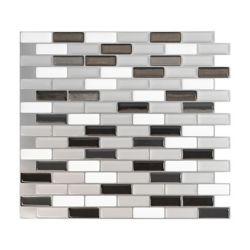 Smart Tiles Carrelage mural décoratif gris métallisé 10,20 po L x 9,10 po H Peel and Stick H