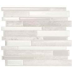 Milano Fabrini 11.55-inch W x 9.63-inch H Taupe Peel and Stick Decorative Wall Tile (4-Pack)