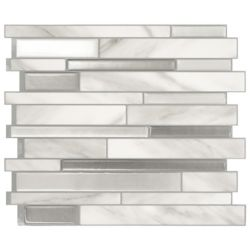Smart Tiles Tuiles décoratives Peel and Stick pour murs, 11,55 po x 9,65 po, Milanno Carrera, gris, ens. de 4