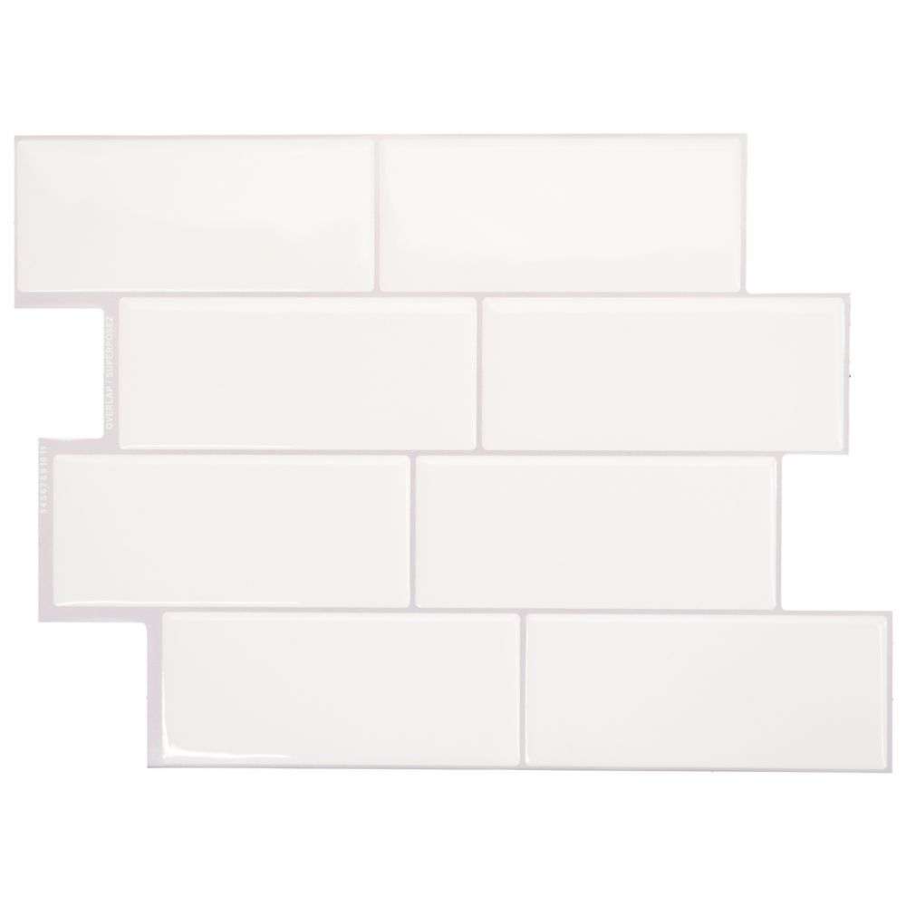 Smart Tiles Metro Campagnola 11.56-inch W x 8.38-inch H White Peel and Stick Decorative Wall Tile (4-Pack)