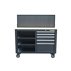 HUSKY 52-inch 5-Drawer Mobile Workbench with Pegboard