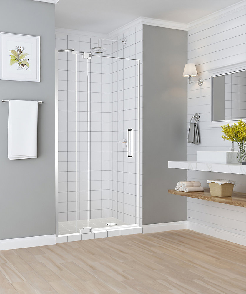 Madox 31 inch to 36 inch x 74.875 inch Frameless Pivot Shower Door in Chrome