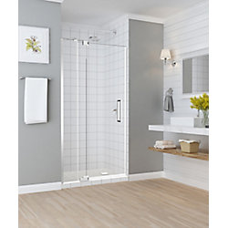 Aston Madox 42 inch to 48 inch x 74.875 inch Frameless Pivot Shower Door in Chrome