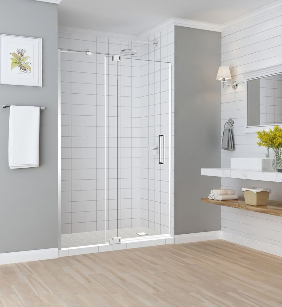 Aston Madox 54 inch to 60 inch x 74.875 inch Frameless Pivot Shower Door in Chrome