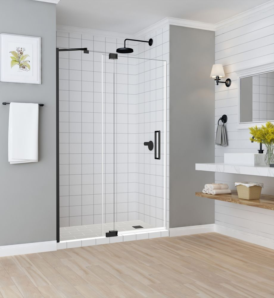 Aston Madox 54 inch to 60 inch x 74.875 inch Frameless Pivot Shower Door in Oil Rubbed Bronze
