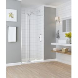 Aston Madox 31 inch to 36 inch x 74.875 inch Frameless Pivot Shower Door in Stainless Steel
