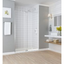 Aston Madox 54 inch to 60 inch x 74.875 inch Frameless Pivot Shower Door in Stainless Steel