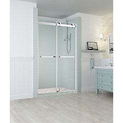 Aston Rivage 44 inch to 48 inch x 76 inch Frameless Double-Bypass Sliding Shower Door in Chrome