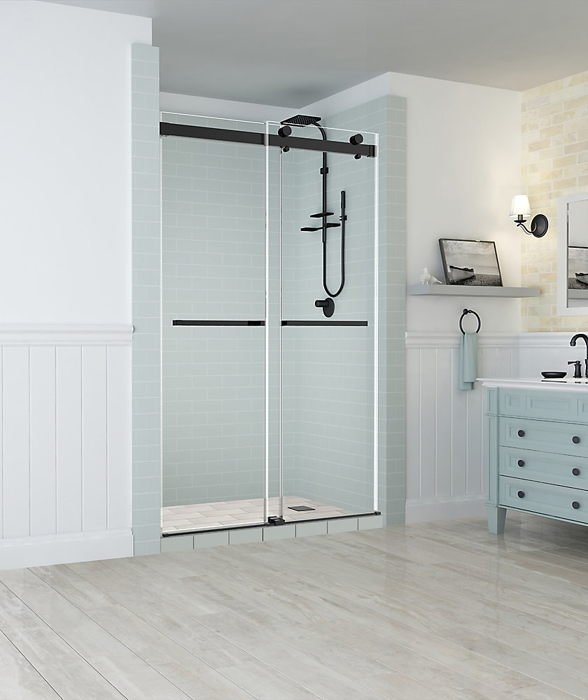 Rivage 44 inch to 48 inch x 76 inch Frameless Double-Bypass Sliding Shower Door in Oil Rubbed Bronze