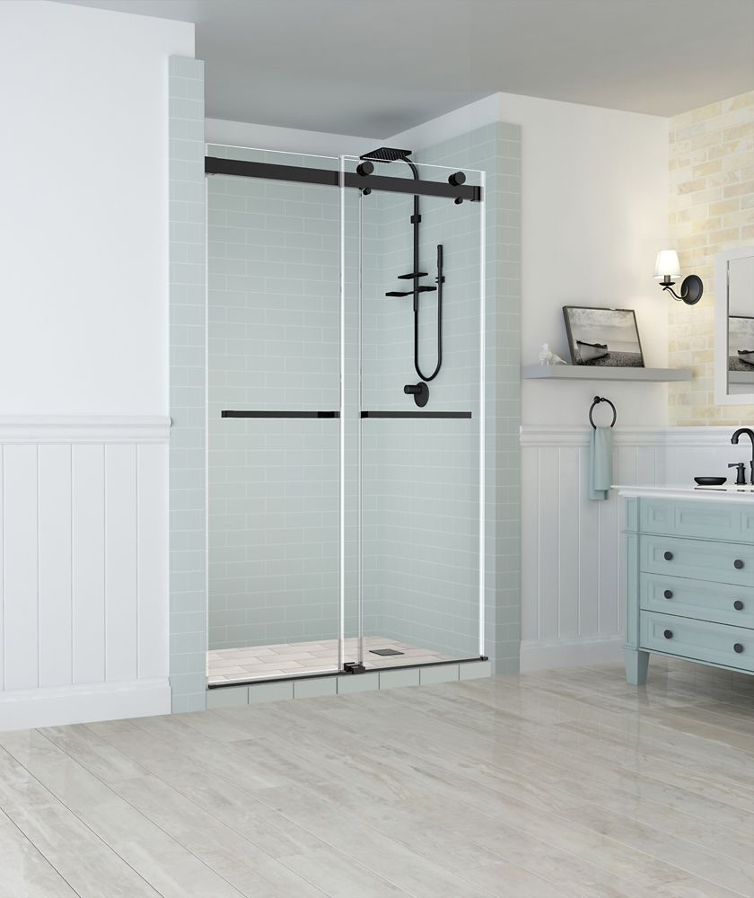 Aston Rivage 44 inch to 48 inch x 76 inch Frameless Double-Bypass Sliding Shower Door in Oil Rubbed Bronze