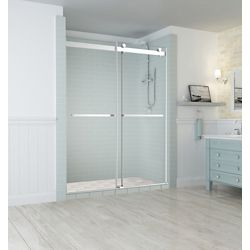 Aston Rivage 56 inch to 60 inch x 76 inch Frameless Double-Bypass Sliding Shower Door in Stainless Steel