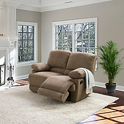 Corliving Lea Brown Chenille Fabric Reclining Loveseat