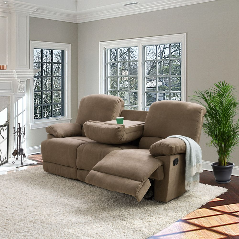 Corliving Lea Brown Chenille Fabric Reclining Sofa The
