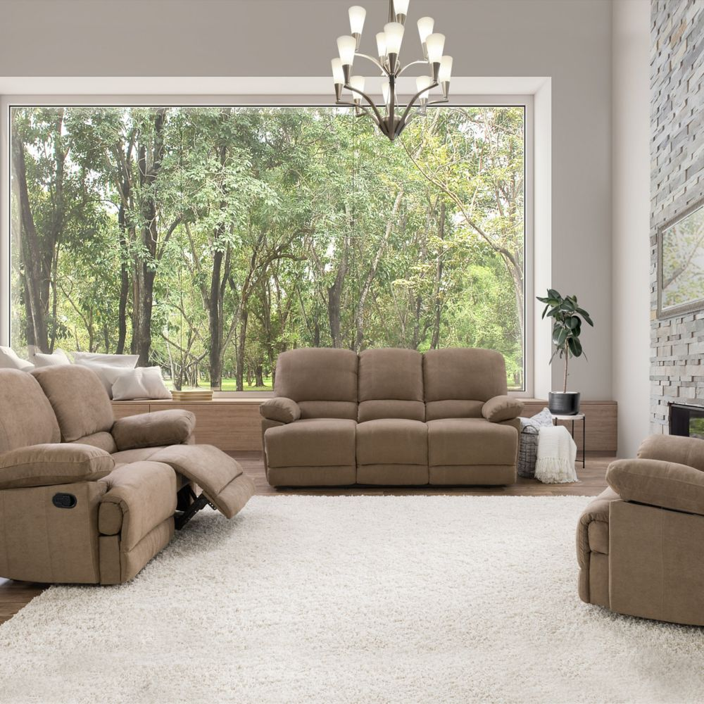 Corliving 3 Piece Lea Brown Chenille Fabric Reclining Sofa Set The
