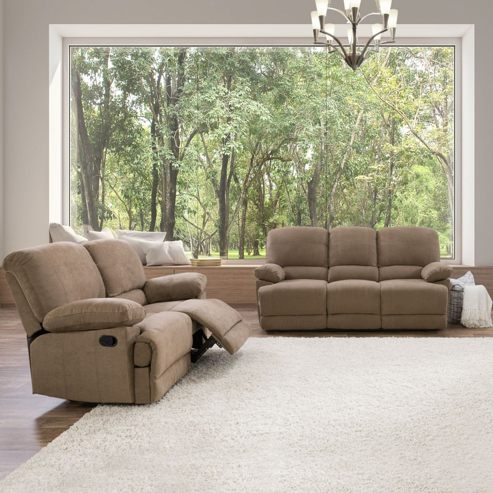 Corliving 2-Piece Lea Brown Chenille Fabric Reclining Sofa Set