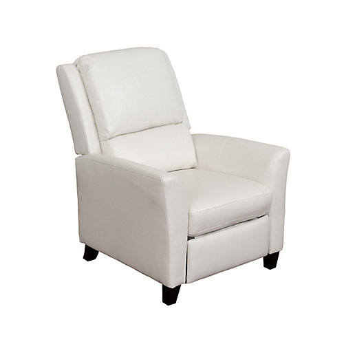Kate White Bonded Leather Recliner