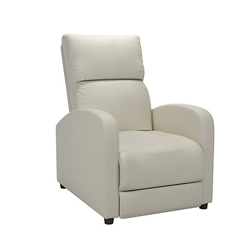 Moor White Bonded Leather Recliner