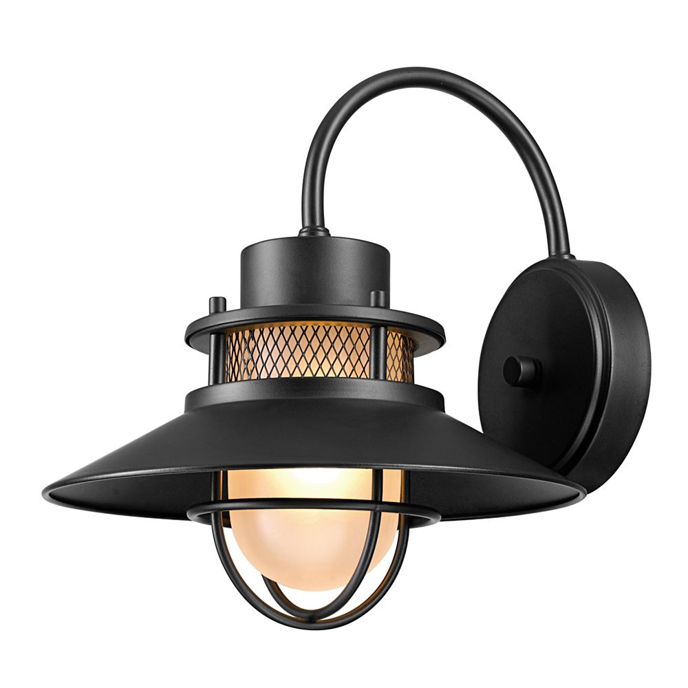 Globe Electric Liam 1-Light Matte Black Outdoor Wall Sconce