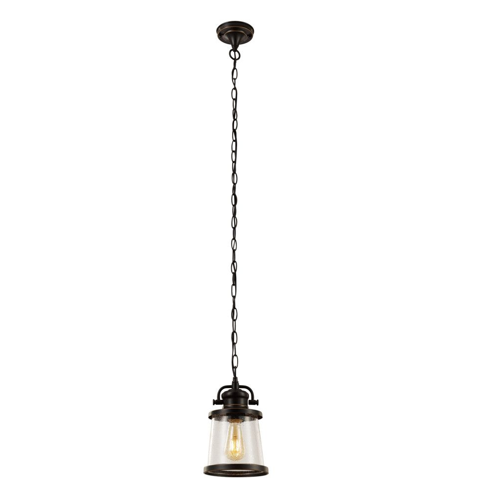 Globe Electric Charlie 1-Light Oil Rubbed Bronze Outdoor Pendant, Vintage Edison LED Bulb Included