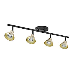 Globe Electric Rail d'éclairage à 4 lumières noir mat, collection Versailles