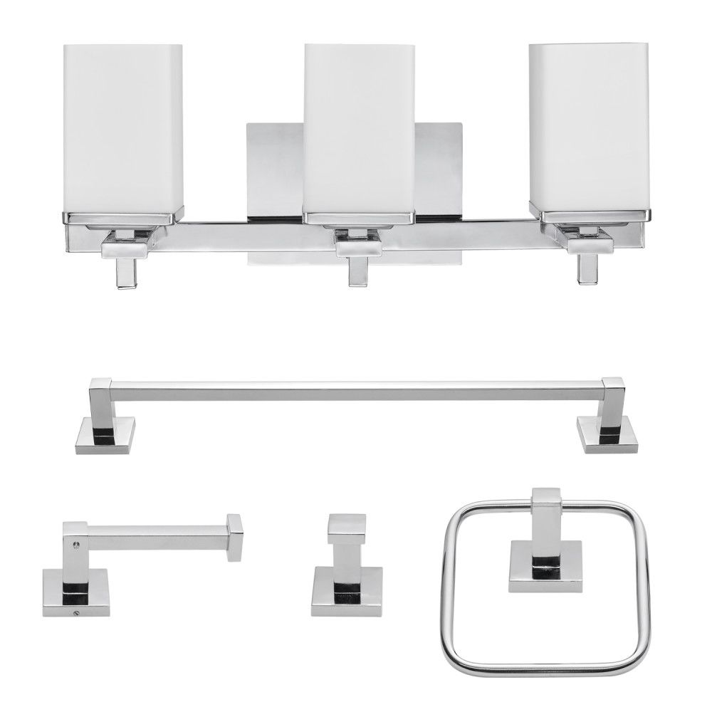 Globe Electric Finn 5-Piece Chrome All-In-One Bath Set with Vanity Light