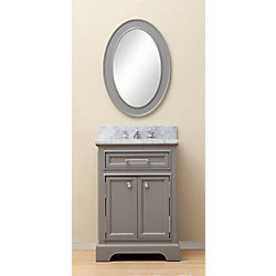 Water Creation Derby 24-inch W Vanity in Cashmere Grey with Marble Top in Carrara White