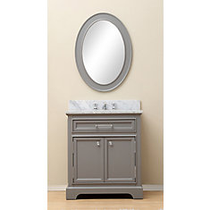 Derby 30-inch W Vanity in Cashmere Grey with Marble Top in Carrara White