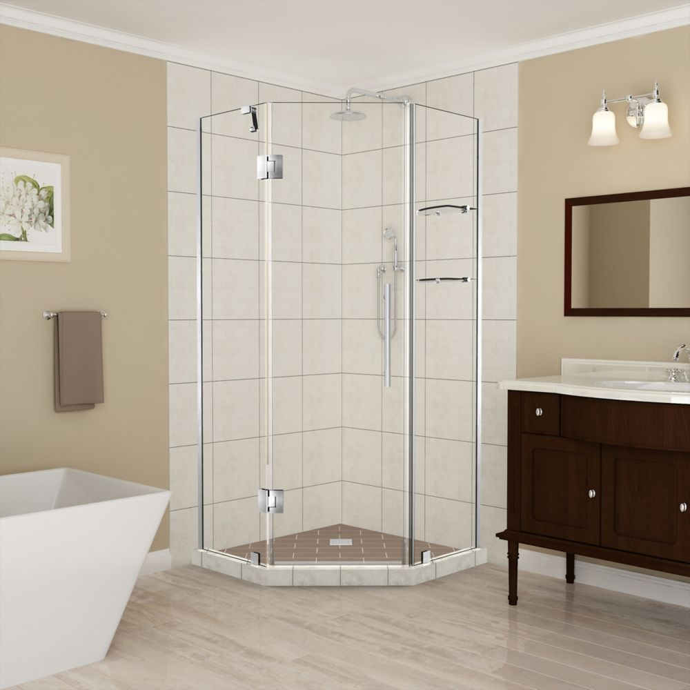 Aston Merrick GS 36 - 36.5 x 72 inch Frameless Neo-Angle Shower Enclosure with Shelves in Stainless Steel