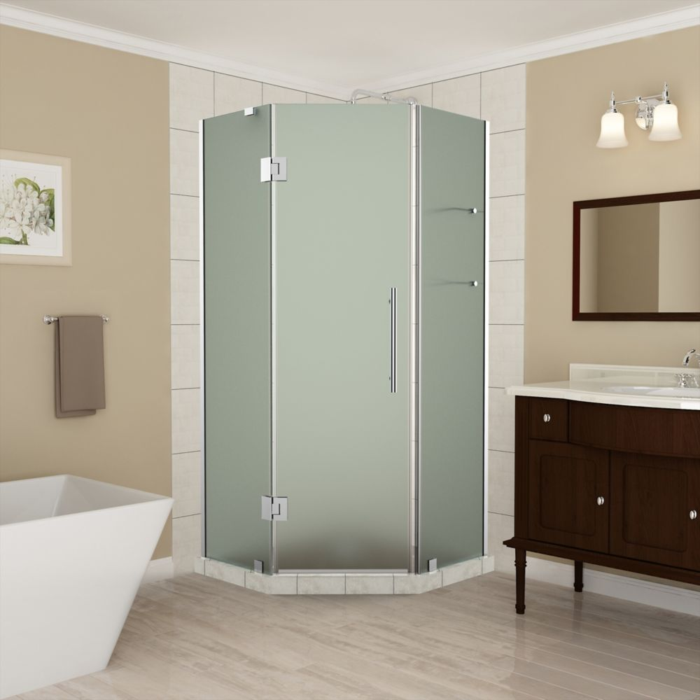Aston Merrick GS 42 - 42.5 x 72 inch Frameless Neo-Angle Shower Enclosure with Shelves, Frosted, Chrome