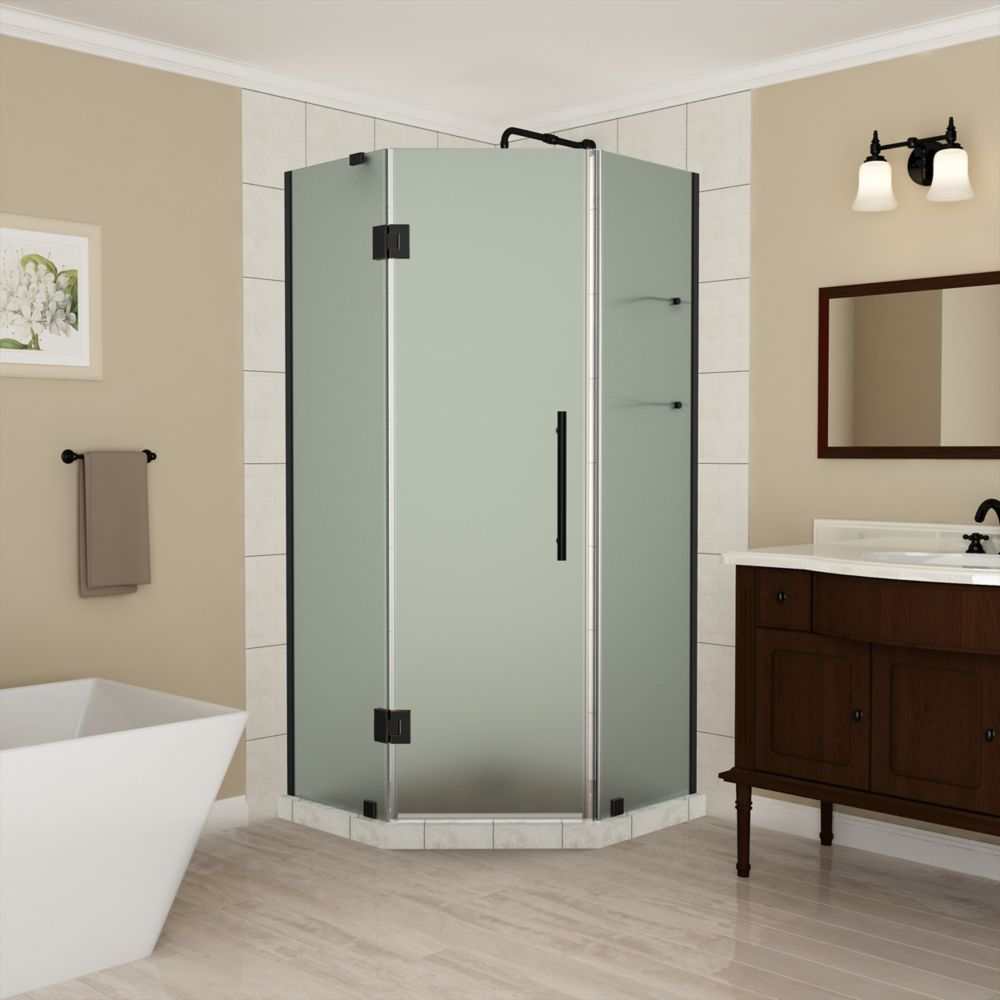 Aston Merrick GS 40 - 40.5 x 72 inch Frameless Neo-Angle Shower Enclosure w/ Shelves,Frosted,Oil Rubbed Bronze