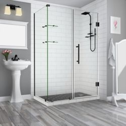 Aston Bromley GS 64.25 - 65.25 x 30.375 x 72 Frameless Hinged Shower Enclosure, Shelves, Oil Rubbed Bronze