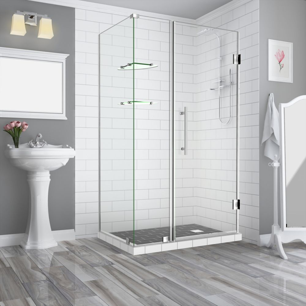 Aston Bromley GS 35.25 - 36.25 x 34.375 x 72 Frameless Hinged Shower Enclosure w/ Shelves, Stainless Steel