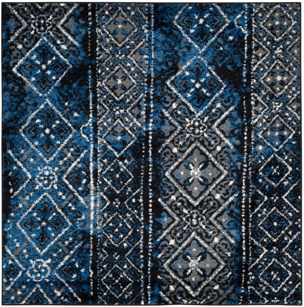 Safavieh Adirondack Carlie Silver / Black 6 ft. x 6 ft. Indoor Square Area Rug