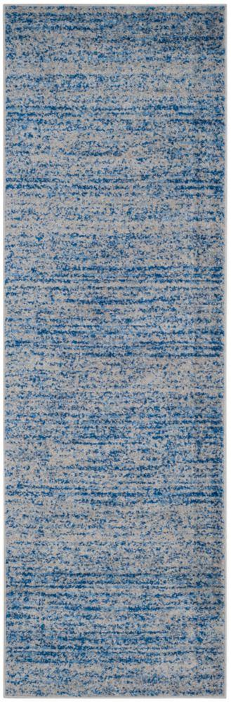 Safavieh Tapis de passage d'intérieur, 2 pi 6 po x 12 pi, Adirondack Leonard, bleu / argent