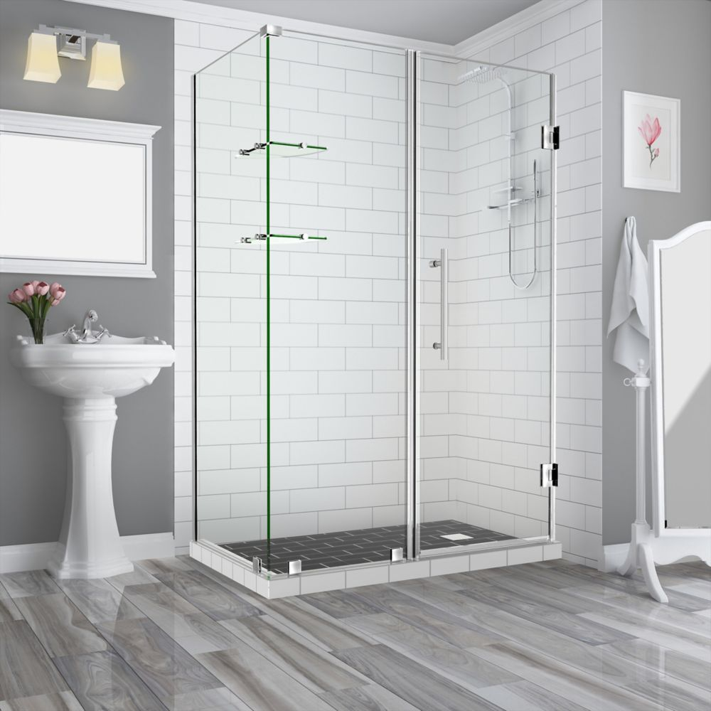 Aston Bromley GS 71.25 - 72.25 x 34.375 x 72 Frameless Hinged Shower Enclosure with Shelves, Stainless Steel